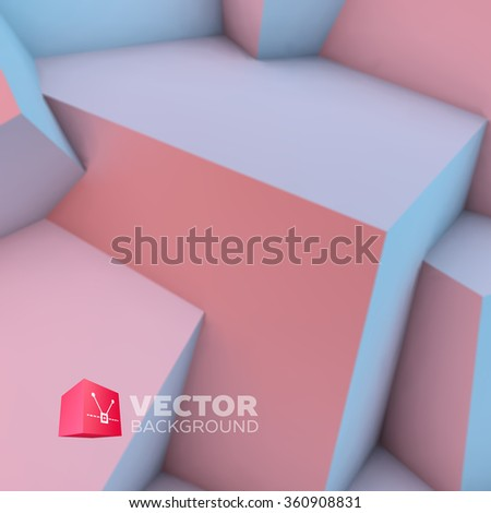 Abstract background with overlapping rose quartz and serenity cubes - stock vector