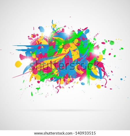 Abstract background with paint splashes. Vector illustration.