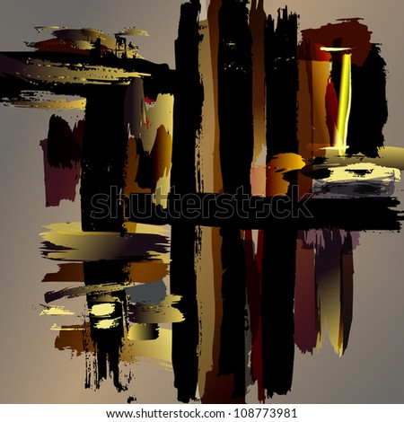 abstract background with paint strokes and splashes - stock vector