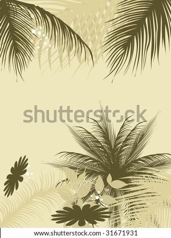abstract background with palm tree and floral illustration - stock vector