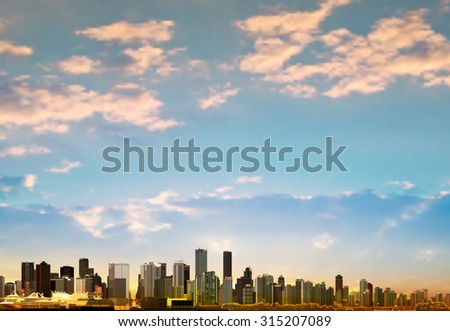 abstract background with panorama of city and clouds vector illustration - stock vector
