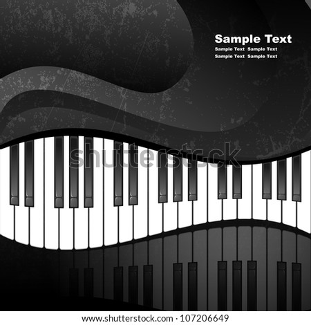 Abstract background with piano keys in grunge style. EPS10 vector illustration. Contains opacity mask. - stock vector