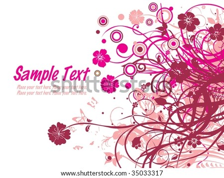 abstract background with pink floral and sample text