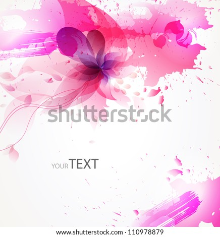 abstract background with pink flower  pink  blots - stock vector