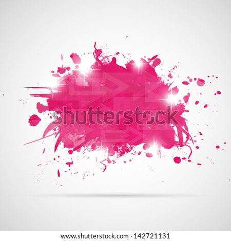 Abstract background with pink paint splashes. Vector illustration. - stock vector