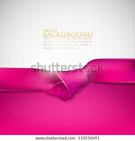 abstract background with pink ribbon - stock vector