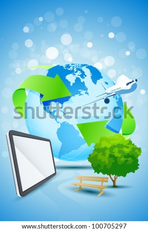 Abstract Background with Planet Earth Airplane Tablet Computer Bench and tree