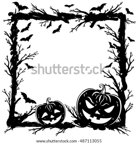 Abstract background with pumpkins, tree branches and bats. Halloween Party template. Vector