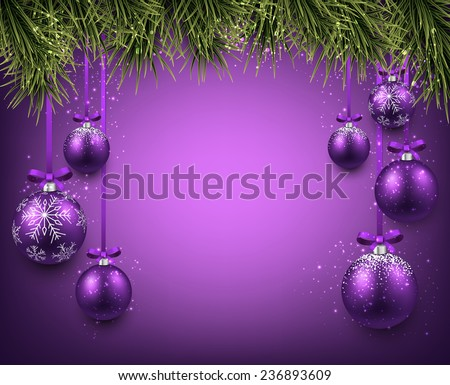 Abstract background with purple christmas balls. Vector illustration.  - stock vector