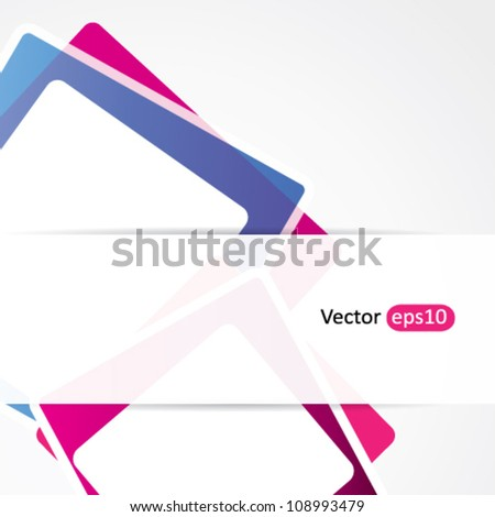 Abstract background with purple rectangles and transparent banner for text - stock vector