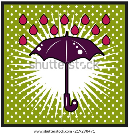 Abstract background with rain pattern and umbrella symbol. Pop art eps vector - stock vector