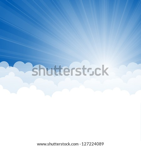 Abstract background with Rays and clouds. Vector illustration.