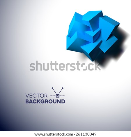 Abstract background with realistic 3D overlapping blue cubes flower - stock vector