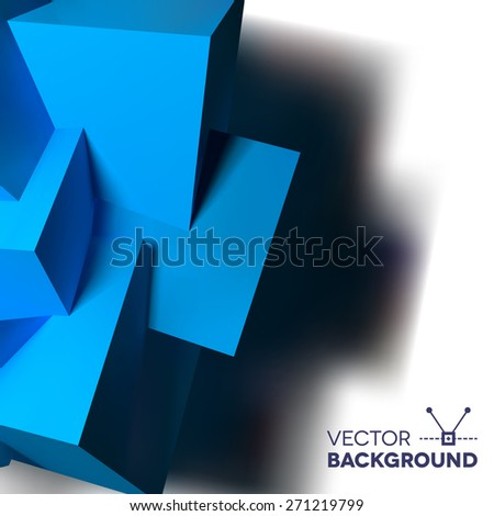 Abstract background with realistic 3D overlapping blue cubes on the left - stock vector