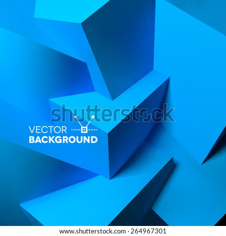 Abstract background with realistic overlapping blue cubes - stock vector