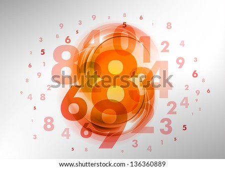 abstract background with red and orange numbers - stock vector