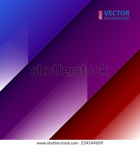 Abstract background with red, blue and purple shiny paper layers. RGB EPS 10 vector illustration - stock vector
