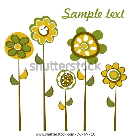 Abstract background with retro designed flowers - stock vector