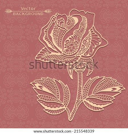 Abstract background with rose in graphic style, vintage lace pattern, antique greeting card, invitation with beautiful  flower, luxury postcard, ornate page cover, vector illustration - stock vector