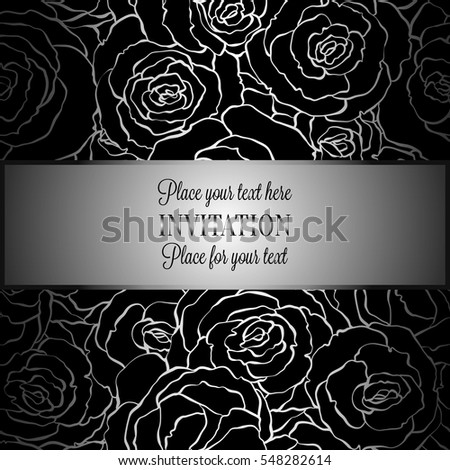 Abstract Background With Roses Luxury Metal Silver Vintage Tracery Made Of Damask Floral