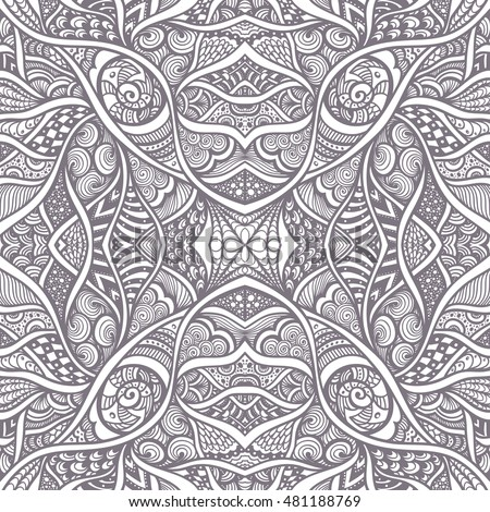 Abstract Background With Seamless Zen Doodle Or Tangle Pattern Black On White For