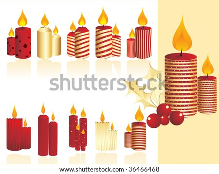 abstract background with set of christmas day candle