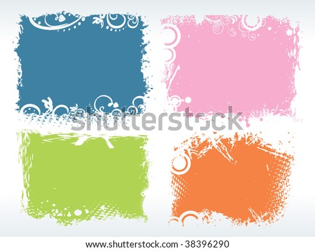 abstract background with set of colorful grungy frames - stock vector