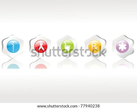 abstract background with set of five medical icons, vector illustration - stock vector