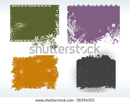 abstract background with set of grungy frames - stock vector
