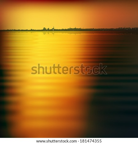 abstract background with silhouette of city and brown sunset - stock vector