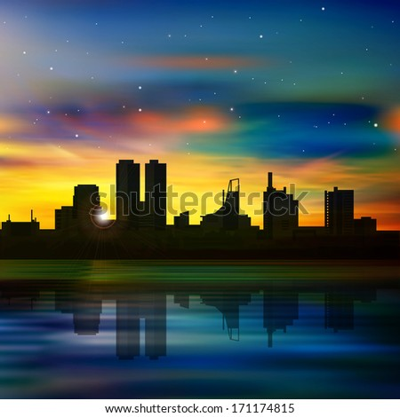 abstract background with silhouette of city and golden sunset - stock vector