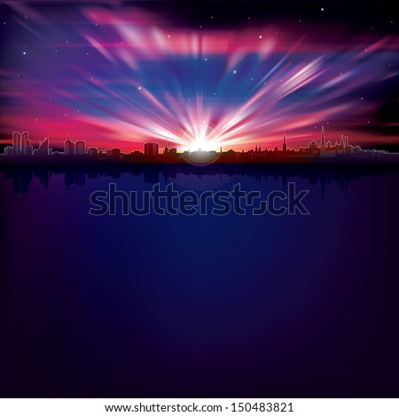 abstract background with silhouette of city and purple sunrise - stock vector
