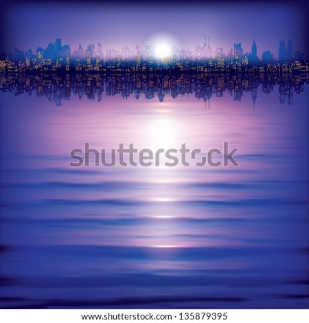 abstract background with silhouette of city and sunset - stock vector