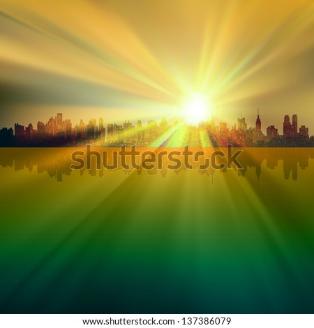 abstract background with silhouette of New York and sunrise - stock vector