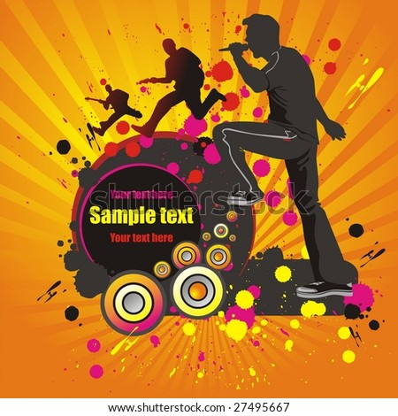 Abstract background with silhouettes of musicians. Vector Illustration. - stock vector