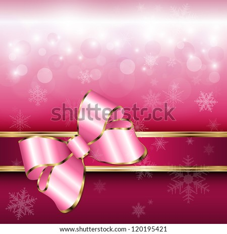 Abstract background with snowflakes and a bow, for Christmas and New Year design, vector. - stock vector