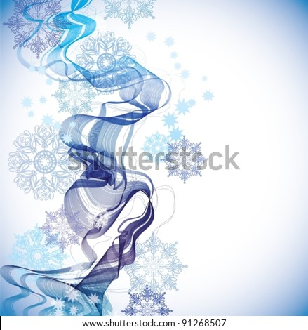 Abstract Background with snowflakes and waves, vector, eps10