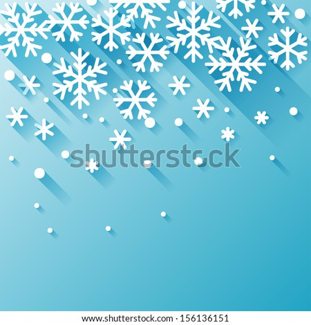 Abstract background with snowflakes in flat design style. - stock vector