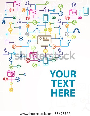 abstract background with social media icons - vector illustration with copy space