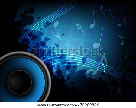 Abstract background with speaker and music bar - stock vector