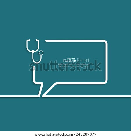 Abstract background with Speech Bubbles symbol. Outline. stethoscope, diagnosis and treatment - stock vector