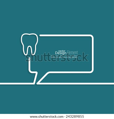 Abstract background with Speech Bubbles symbol. Outline. Tooth roots, dental record - stock vector