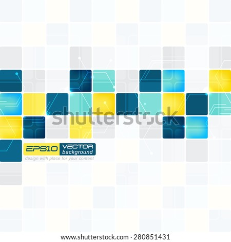 Abstract background with squares of different colors - stock vector