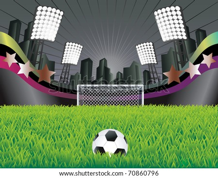 Abstract background with stadium and field. Detailed goal. Vector illustration. - stock vector