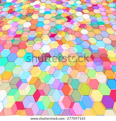Abstract background with stained glass hex polygons. - stock vector