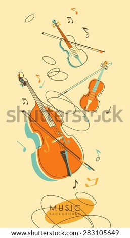 Abstract background with stringed musical instruments violins, cello in vintage sketch style - stock vector