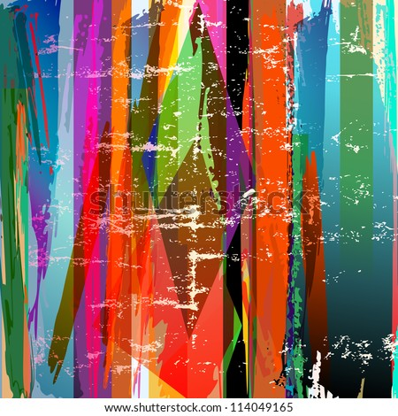 abstract background, with stripes, paint strokes and splashes - stock vector