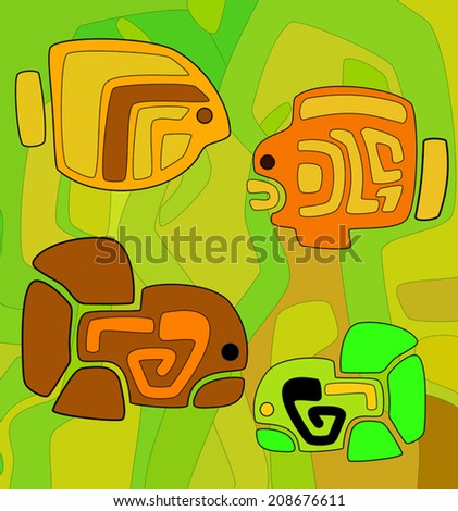 abstract background with stylized tribal fishes - vector