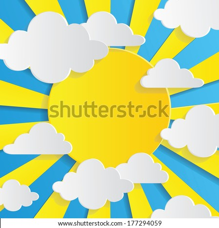 Abstract background with sun and clouds - stock vector