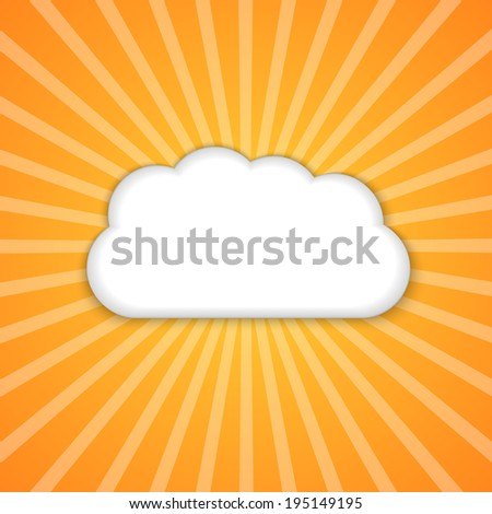 Abstract background with sun and clouds. Vector illustration.